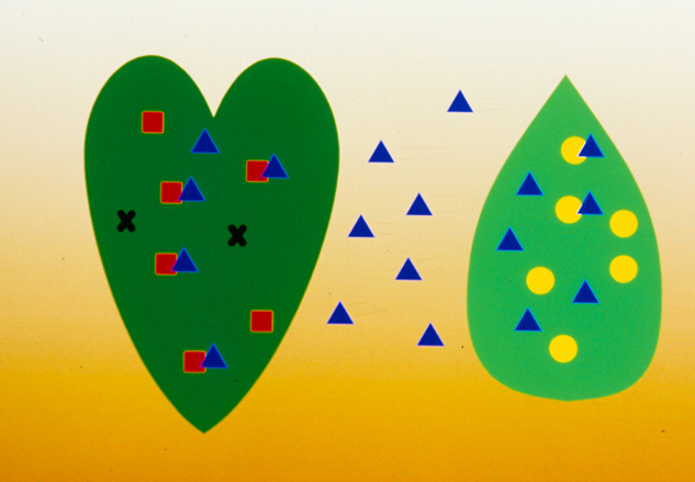 This is a schematic view of natural enemies moving between the crop and the banker plant. This is the aim of the system: the natural enemies will move from the banker plant in search of food. If the crop is infested with the pest for which the system was designed (spidermites or whiteflies), they will be attached and killed.
